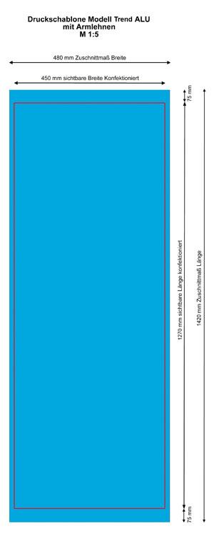 Druckschablone TREND Alu-Liegestuhl mit Armlehnen
